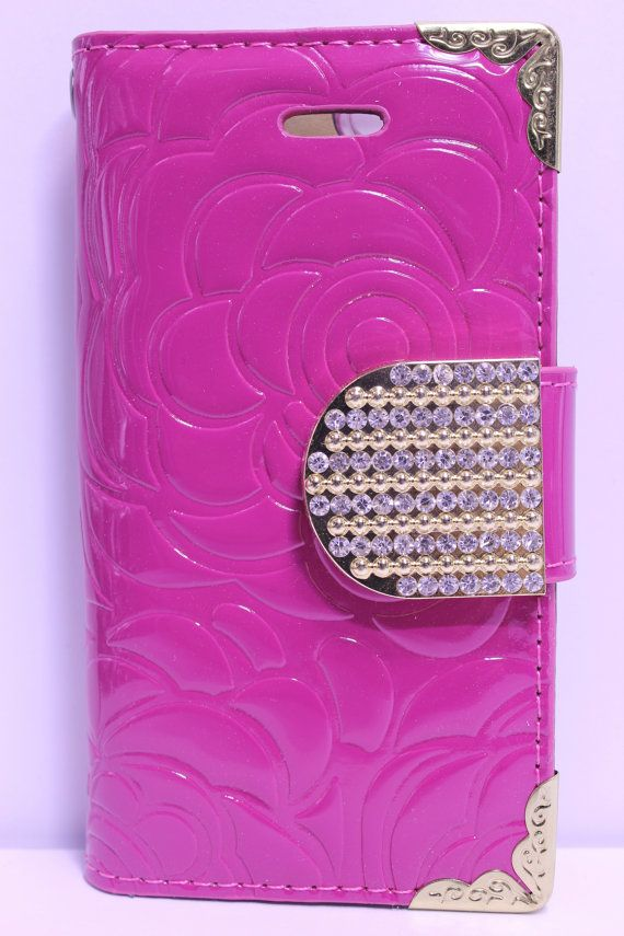 Hot Pink Flower Engraved Design With Gold Rhinestone Strap Diary Wallet Phone Case | Color Option Available