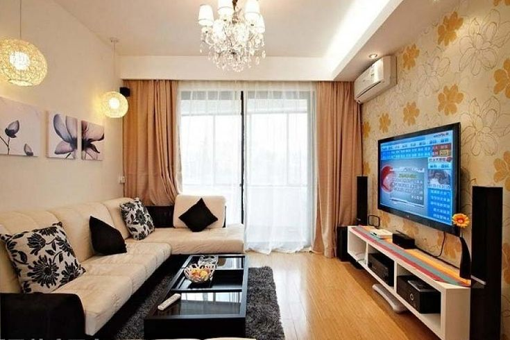Small tv room ideas with floral wallpaper | Decolover.net