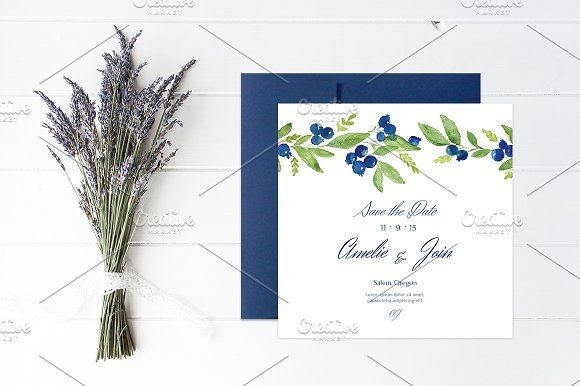 Blueberry Wedding Collection by NinaDolgopolova on @creativemarket