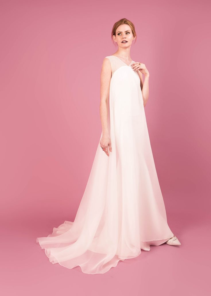 Modern wedding dress for the contemporary bride. Sarah dress. Sweeping gown in silk organza with a bias cut lining.