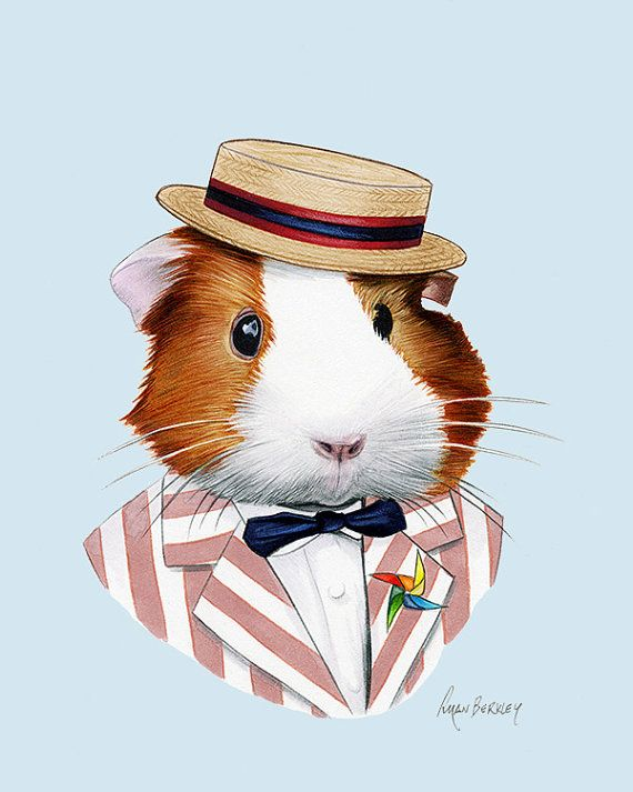 Guinea Pig art print - Modern kid art - Pet Portrait - Animals in Clothes - Animal Art - Modern Decor - Ryan Berkley Illustration 8x10