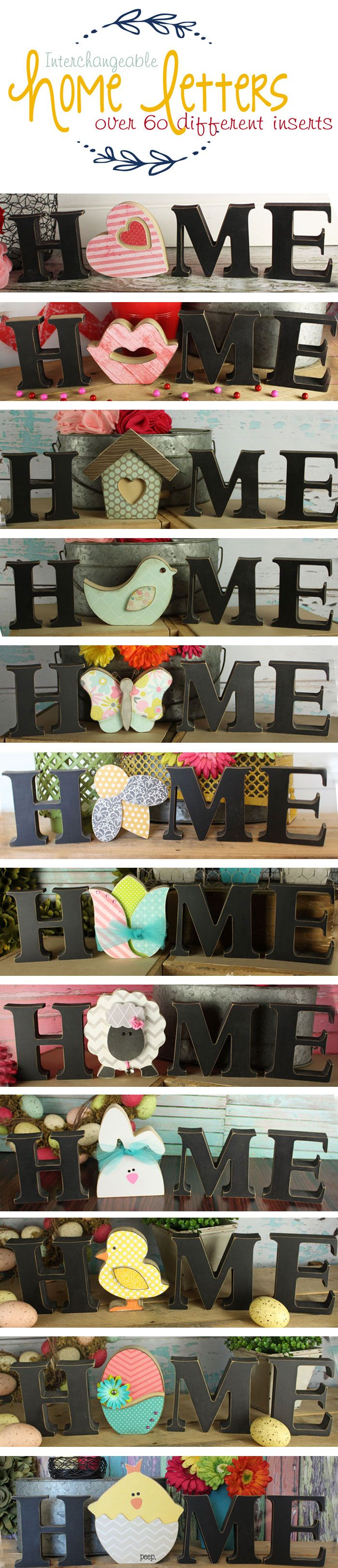 "Interchangeable HOME letter crafts. Pick from over 60 different inserts for the letter ""o"". Swap out the insert for every holiday/season. So cute!!"
