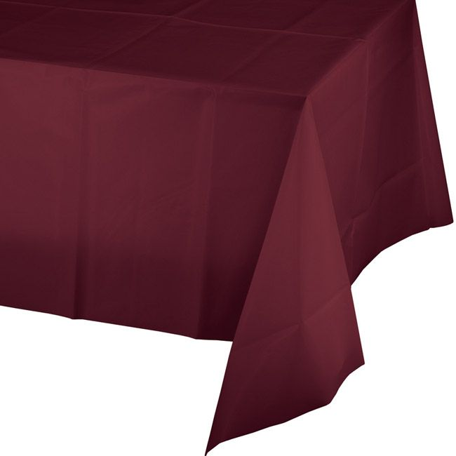 Burgundy Plastic Banquet Tablecloth In 2020 Plastic Tablecloth Plastic Tables Plastic Table Covers