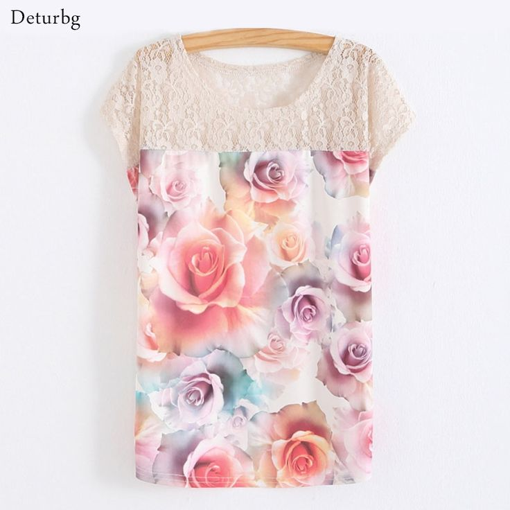 6.6$  Watch more here - Women's 3D Floral Printed T-Shirt T Shirts 2017 Summer Batwing Sleeve Casual Cotton Blends Lace Patchwork Stretchy Tops SH140   #SHOPPING