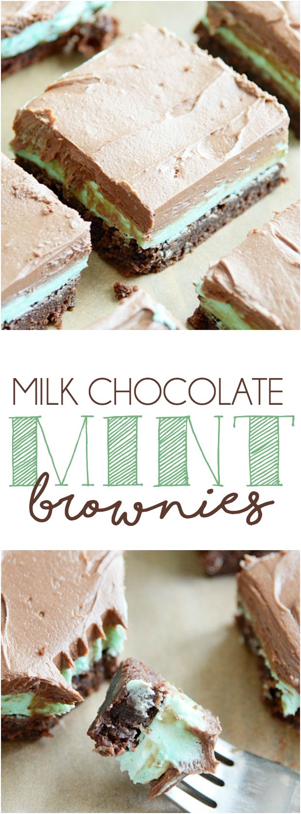 Extra fudgy brownies topped with vanilla mint frosting and creamy chocolate frosting.
