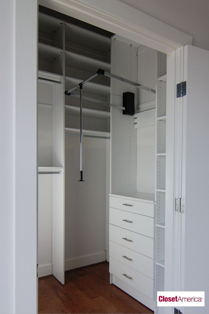 custom closet organization ideas with awesome pole for hanging clothes and lots of drawer storage