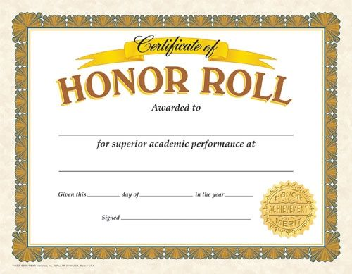 certificate of honor roll  reward your students for their