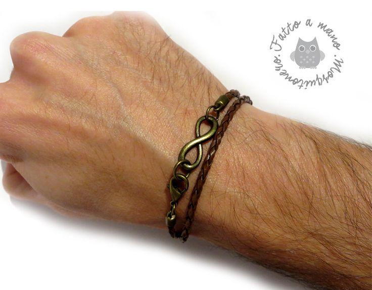 Bracciale da uomo con simbolo infinito in pelle doppio giro braccialetto regalo, by Mosquitonero Shop, 7,90 € su misshobby.com