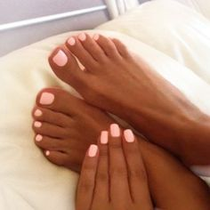 Neon pink matching mani predi. Done.