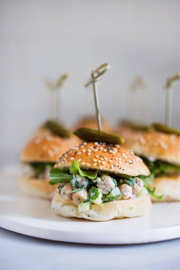 Chickpea Salad Sliders w/ Cilantro - vegan!