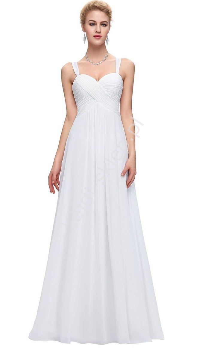 Skromna szyfonowa biała suknia | białe sukienki, klasyczna biała sukienka