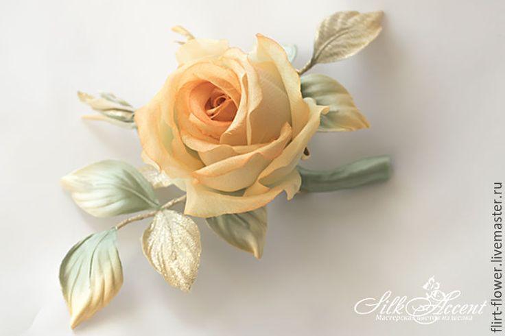Купить Винтажная роза из шелка с универсальным креплением - роза, роза из шелка, роза из ткани