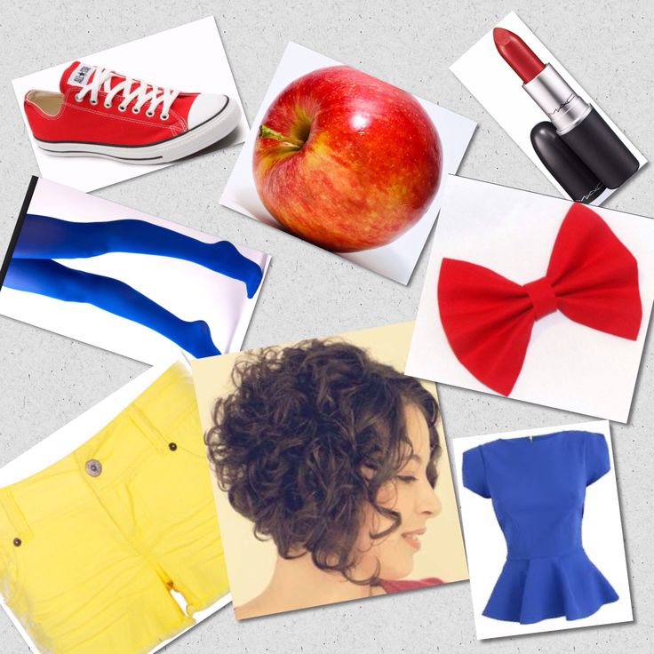 Snow White DIY costume You need  Red converse shoes  Blue tights Yellow shorts Blue top Tight curl optional  Red hair bow  Red lipstick  Apple