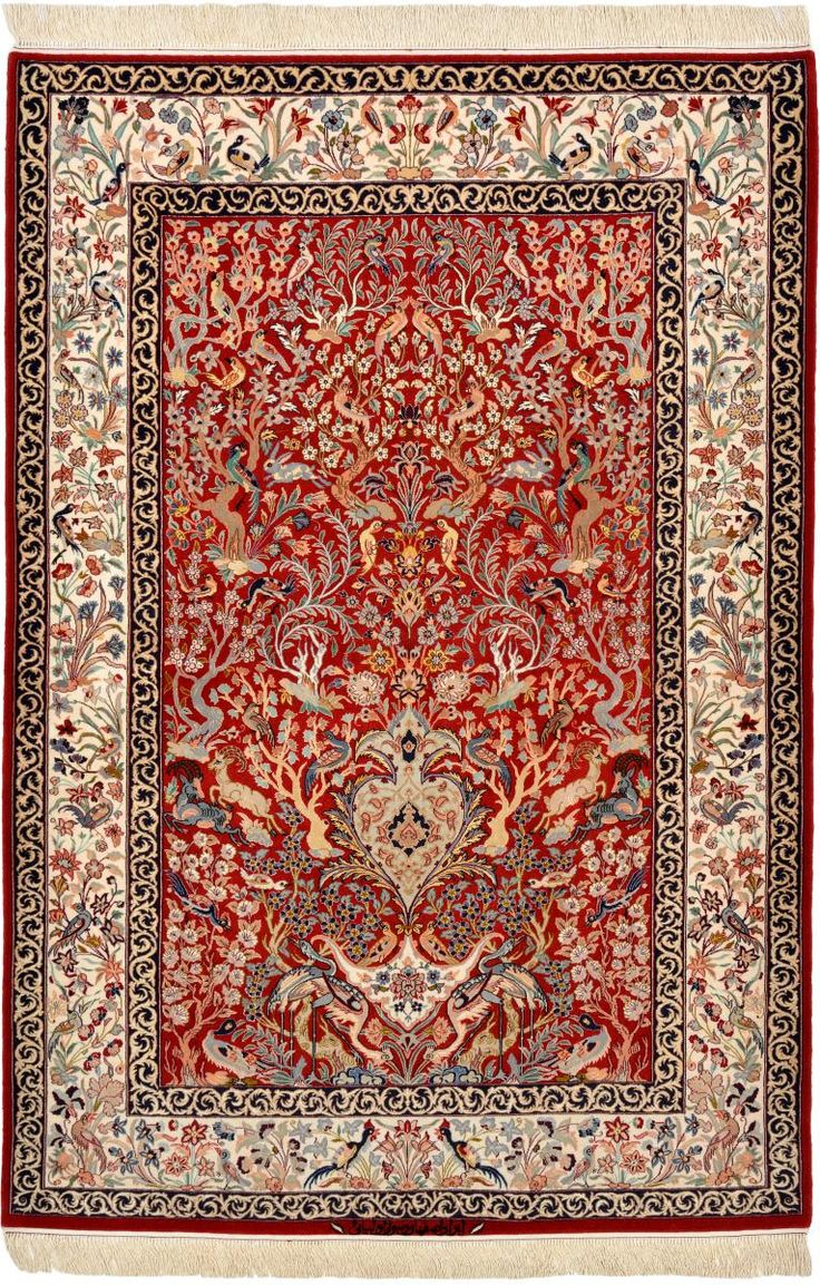 This hand knotted oriental carpet is 218x148cm and was made in Isfahan. Find it on our website.