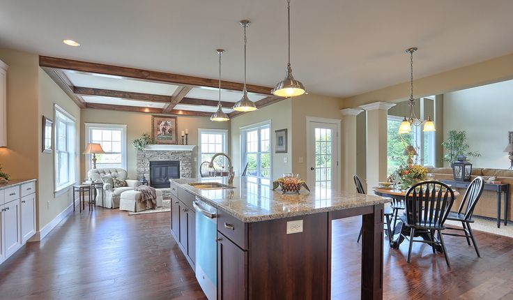 Kitchen With Island And Breakfast Bar Open To Breakfast