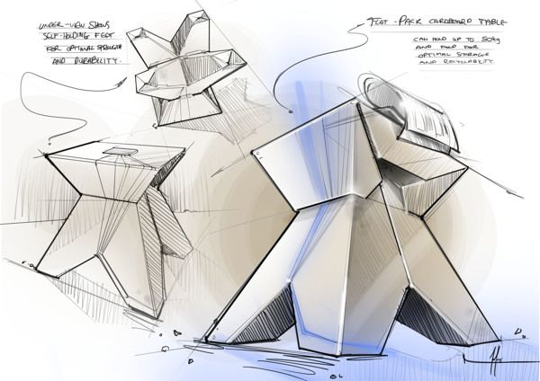 flat pack cardboard side table by Natalia Tofas, via Behance