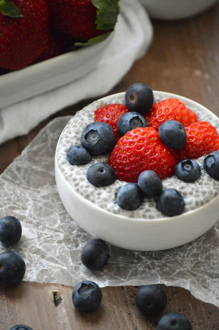 Healthy Red, White and Blue breakfast/dessert! This Vanilla Chia Pudding is an easy breakfast or dessert that takes less than 5 minutes to throw together before it chills overnight. It's healthy, delicious, dairy free, gluten free and refined sugar free – the perfect way to start your dasharonkBlog | http://www.whattheforkfoodblog.com/?utm_content=buffer5a3c8&utm_medium=social&utm_source=pinterest.com&utm_campaign=buffer