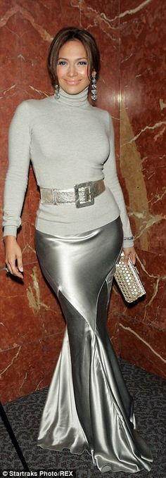 My little mermaid: In 2002 Jen rocked a fishtail skirt and roll neck to a film premiere...