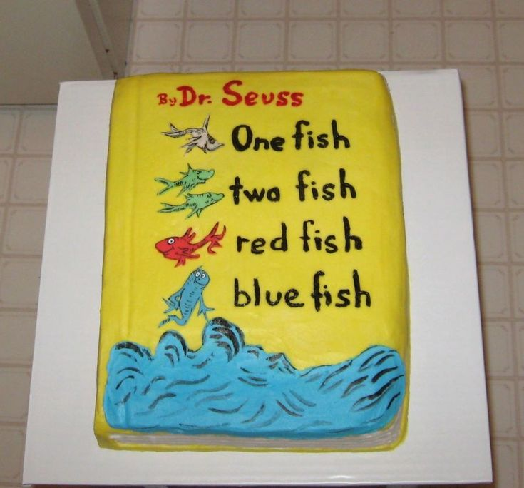 Dr. Seuss Book Cake marble cake with vanilla icing all covered in butter cream with sugar paste (fondant) fish.