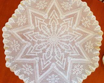 Vintage Crochet Doily bianco pizzo centro pezzo tovaglia in cotone, decorazione della tavola, tovagliolo, tovaglia rotonda