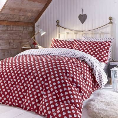 catherine lansfield home brushed hearts 100 brushed cotton flannelette reversible duvet cover set red