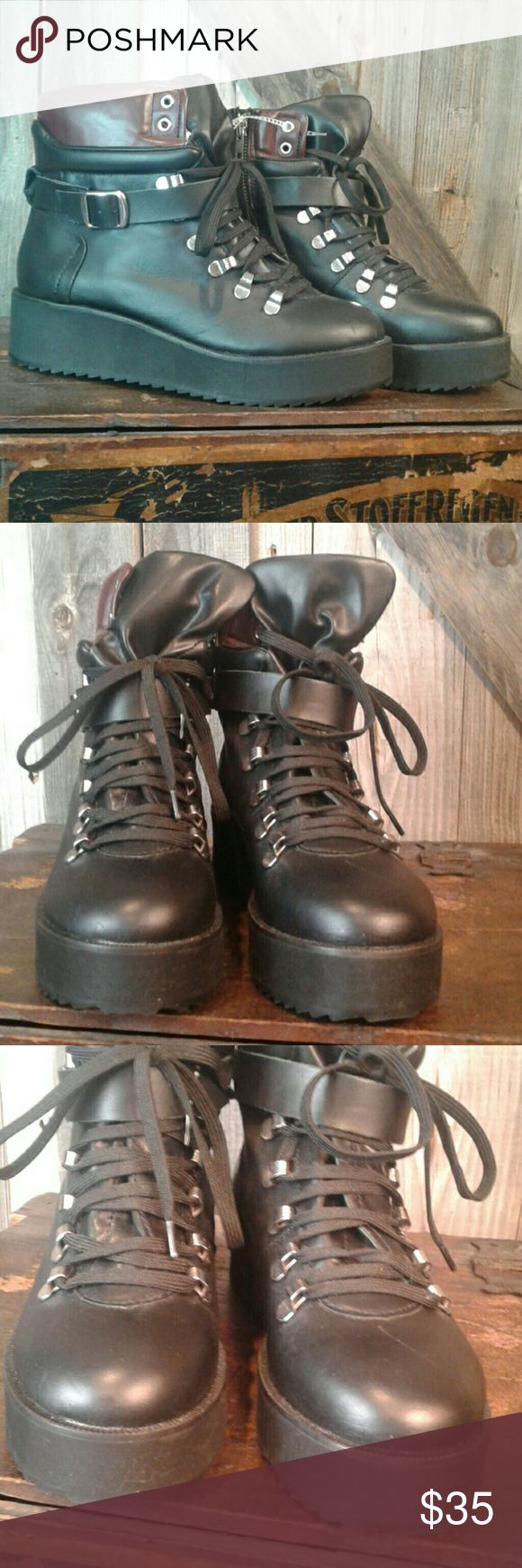 Steve Madden black  hiking boots 7.5 New without box has been tried on and handle in a retail inviorment leather upper manmade outsole Steve Madden Shoes Combat & Moto Boots