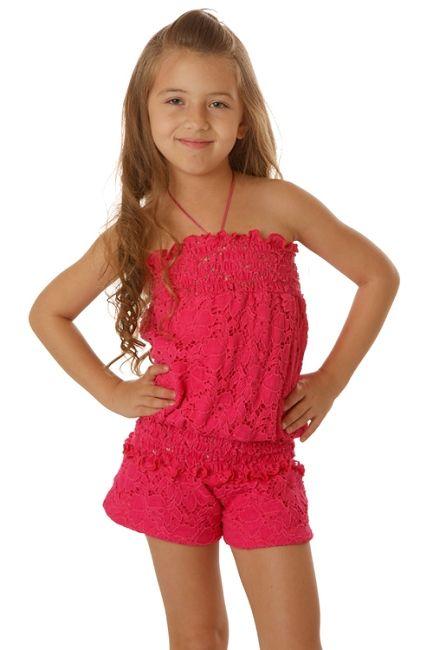 Les Tout Petits Hot Pink Lace Romper