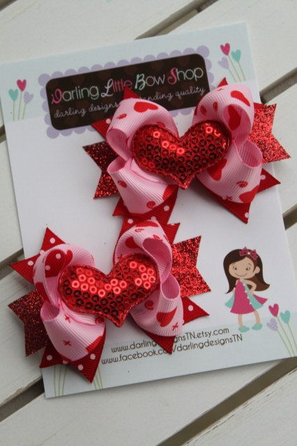 Valentines Day Pigtail Bows --- small pink and red bows with sequin hearts --- XOXO. $10.95, via Etsy.