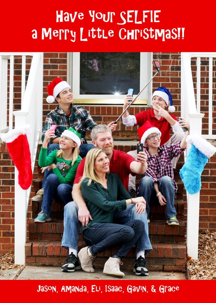 Have Your SELFIE a Merry Little Christmas. Funny Christmas Card. Funny family Christmas card. Selfies. iPhones. Family. Christmas. Natural light photography. Canon 50mm.