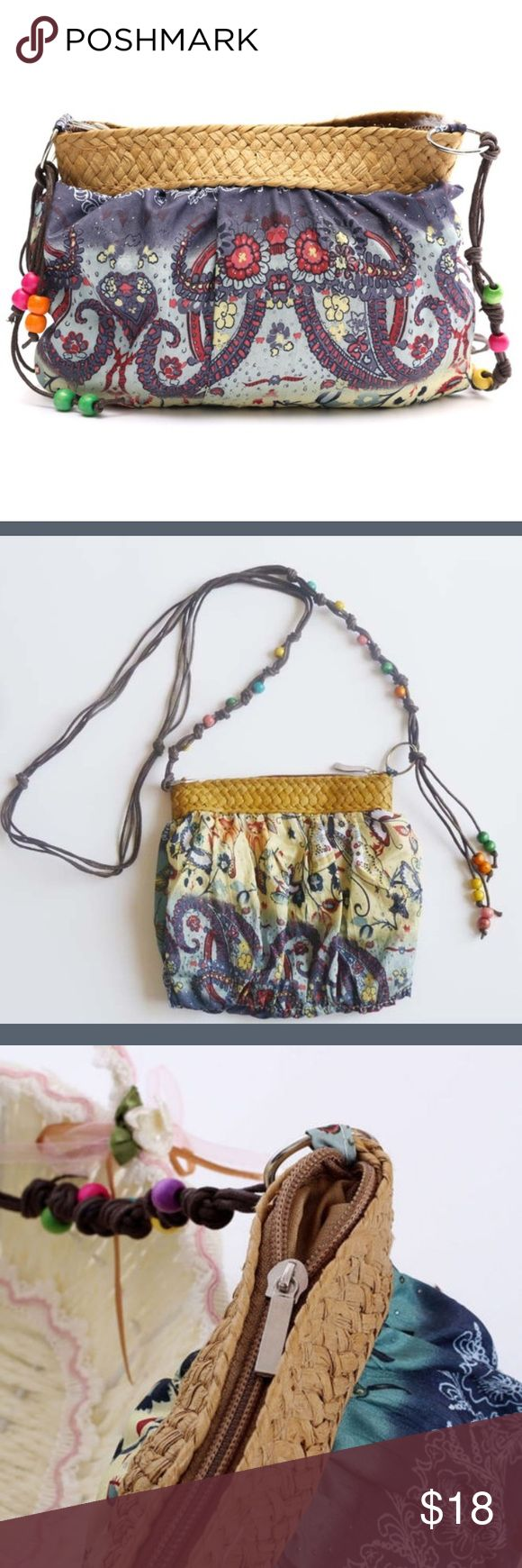 """Boho Sky Cloth Cross-body Bag *NEW*  •Approx 9"""" / 47"""" strap  •Beaded rope strap  •Fully lined Bags Crossbody Bags"""