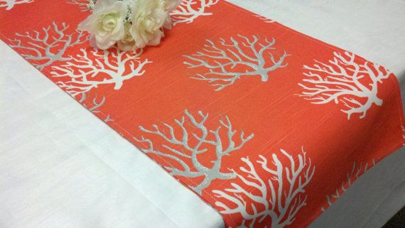 CHOOSE SIZES RUNNER Table Runner Salmon with white and grey coral  Nautical Beach Wedding Bridal on Etsy, $12.50