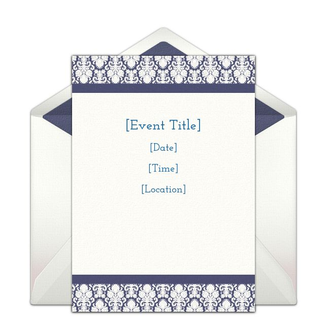 Customizable Border Damask online invitations. Easy to personalize and send for a party. #punchbowl
