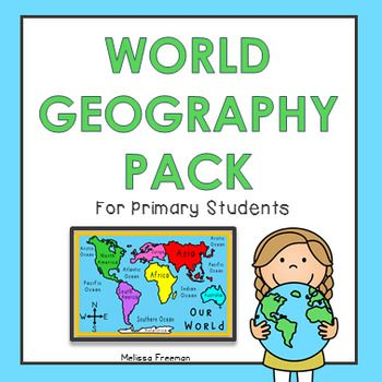 This resource contains a 10-page work booklet with world maps (continents, countries, oceans, and equator), a continents match up game, continents word wall cards, a geography quiz, and a word search.  It is a great way to introduce world geography concepts to primary students!  *Please note:  The maps in this pack show the fifth ocean  the Southern Ocean (or Antarctic Ocean) recognized in the year 2000.* 2015 Melissa Freeman