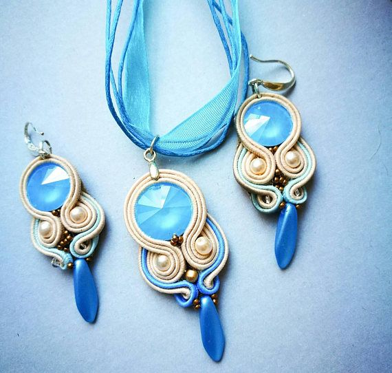 Soutache jewelry set with Swarovski crystal gift for her
