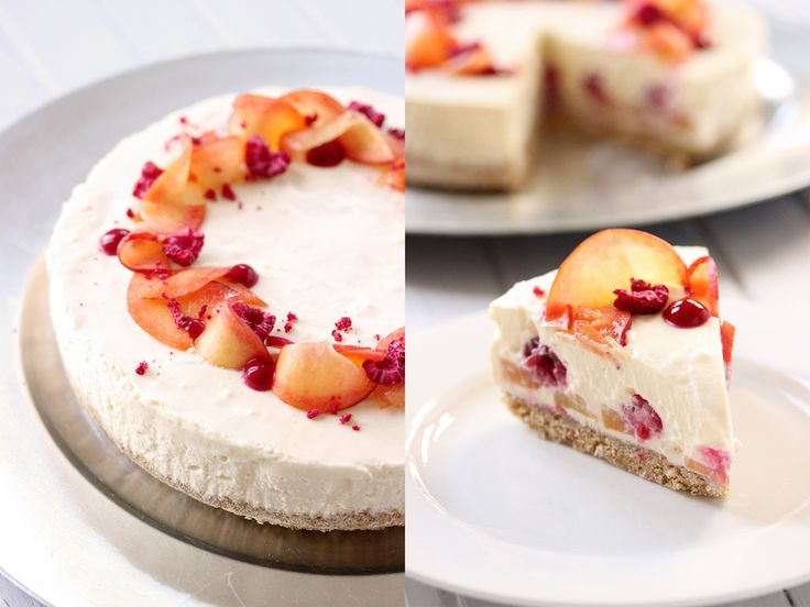 Peach, Raspberry and White Chocolate Cheesecake - In Rhi's Pantry
