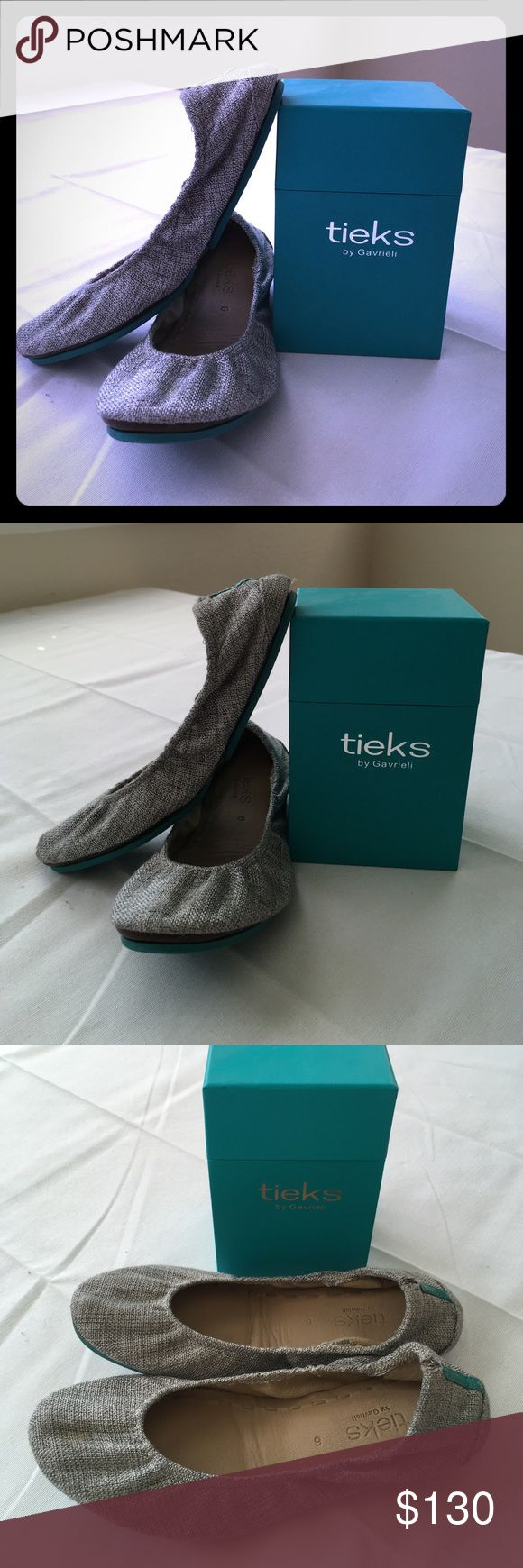 Tieks Vegan Silver Lake Size: 6 US I'm moving across the world so it's time to find new homes for my beloved shoes. These Silver Lake soft grey hue flats is versatile for all seasons - pair them with a breezy sundress or jeans. Slight scuffing in the back of the left heel. Non-skid rubber soles and cushioned instep. Heels fold in half for easy storage in purse. Includes: Tieks box with tote bag. Tieks Shoes Flats & Loafers