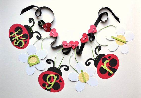 Ladybug baby shower decorations daisies banner by by ParkersPrints