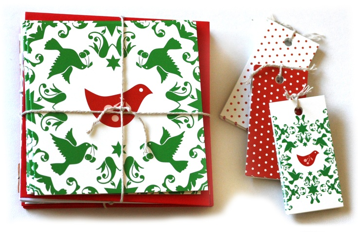 Christmas birds in traditional green, red and white...