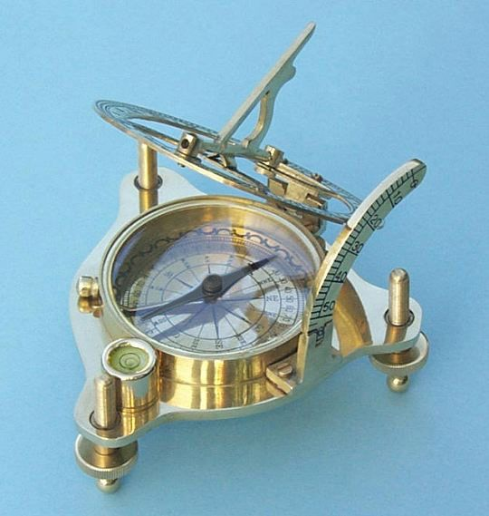 This premium grade model of the sundial compass has a round spirit level built into the frame to assist in leveling the sundial. The three main variables that affect the accuracy of a sundial are the azimuth, latitude of the instrument, and level. This sundial has the ability to set all three variables. The Premium Grade brass sundial compass with spirit level and hardwood case sells for $125.