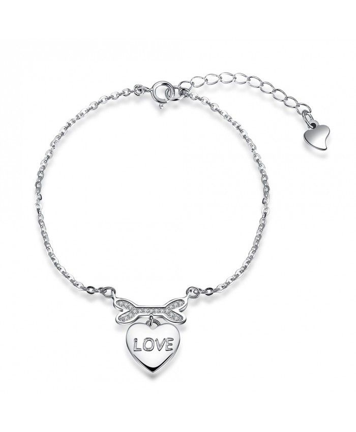 A Slender 925 Sterling Silver Link Chain Bracelets with Love Pendant