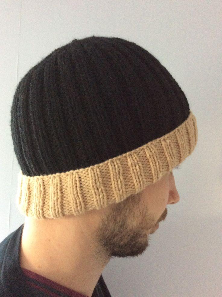 Bonnet Noir et Beige en laine Tricoté main côtes 2/2 pour homme Mode actuelle intemporelle : Autres mode homme par la-p-tite-mimine