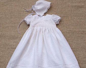 Lino battesimo Abito Baby Ragazza Cerimonia battesimo di Graccia