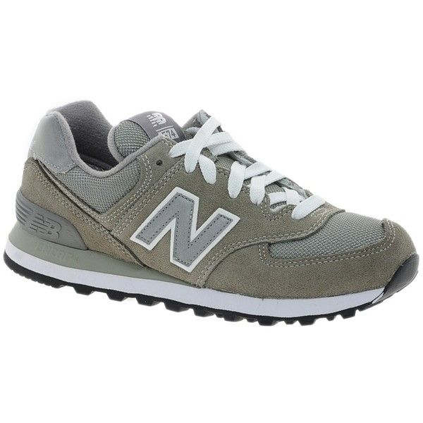 New Balance 574 Grey Trainers ($72) ❤ liked on Polyvore featuring shoes, sneakers, new balance footwear, grey sneakers, new balance, flat sole shoes and mesh sneakers