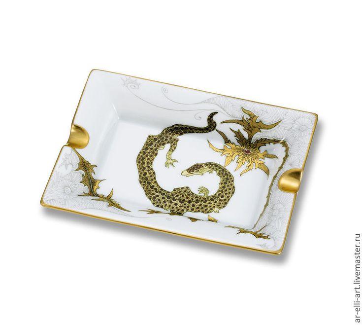 """Купить Фарфоровая пепельница """"Золотой дракончик"""" - золотой, фарфор, фарфоровая пепельница, фарфоровый подарок"""