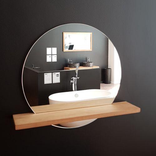 Miroir BALI rond Ø60 cm, avec étagère en teck -…