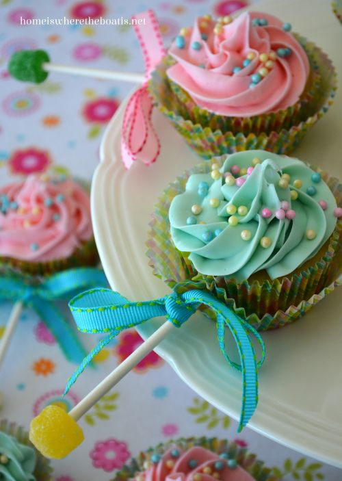 Baby Rattle Cupcakes. That's a cute and not too complicated baby shower idea!
