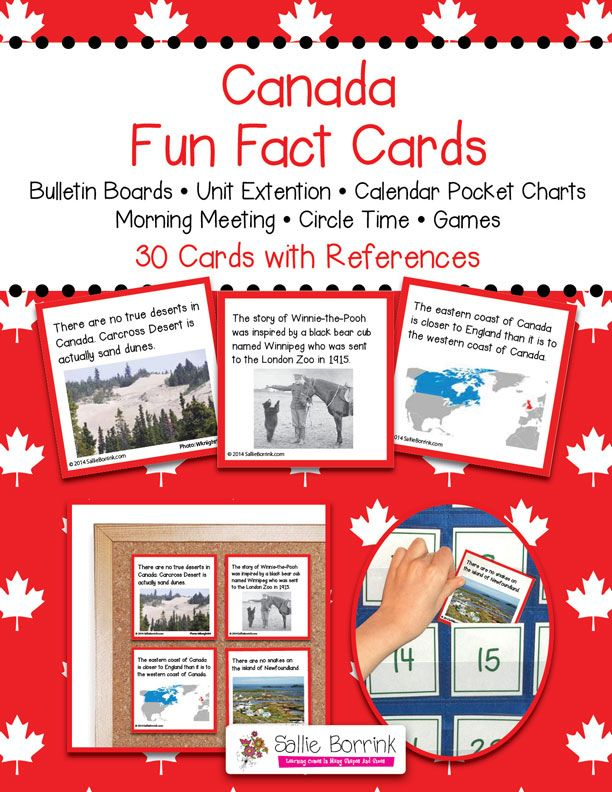 "Canada Fun Fact Cards - Great for Unit Extension Activity, Bulletin Boards and Games - One teacher said: ""My kids are addicted to reading these facts cards every morning. If I forget to read one, they are sooo quick to remind me. And the parents are learning too! During conferences, I had many parents tell me how much they had learned from their children when we read the apple and pumpkin cards. Thanks!"""