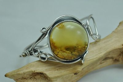 Unique amber bangle, bracelet with  beutiful yellow Baltic amber stone in ornate sterling silver mount.