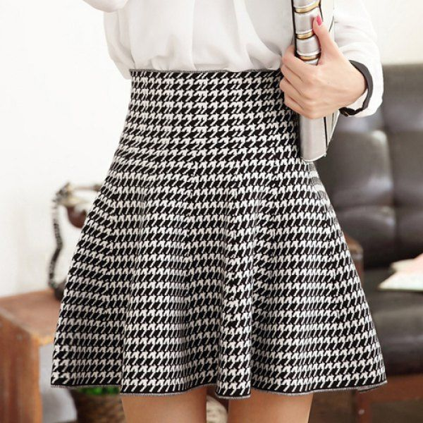 Houndstooth A-Line Women's Refreshing Style Skirt