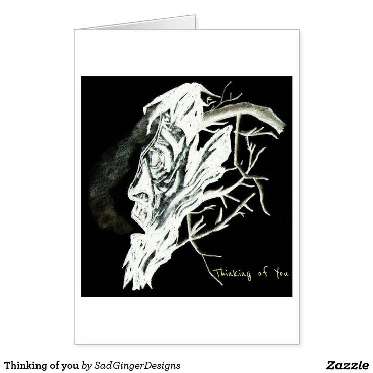Thinking of you greeting card #darkart #art #drawing #illustration #funny #gingerart #mixedmedia #hipster #sadgingerdesigns #greetingsfromasadginger #greetingcards #specialoccasions #thinkingofyou #thinkingofyoucard #dark